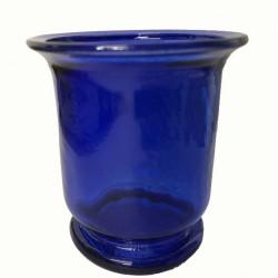 Portavelas Cristal Azul Cobalto h 7cm